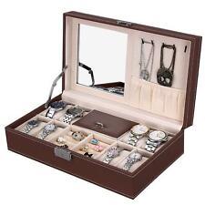 Leather Jewelry Box w/ Lock Men Women Mirror Watch Rings Holder Storage Case