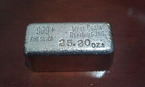 25.20oz silver West Coast Refining .999 COIN BULLION bar - Old Style