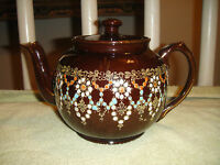 Vintage England Brown Beaded Teapot-Gold Trim-Numbered-Lovely Bead Work