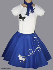 "3 Pc Blue 50's Poodle Skirt outfit Girl Sizes 10,11,12,13 W 23""-35"" Length 23"""