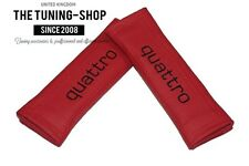 """2x Seat Belt Covers Pads Red Leather """"quattro"""" Black Embroidery for Audi"""