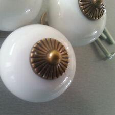 Möbelknöpfe Türknauf Türknopf aus Porzellan Weiß Bronze Farbe Messing
