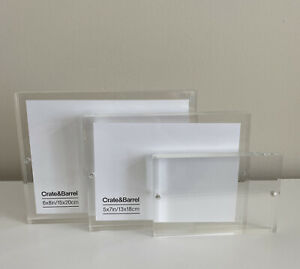 crate & barrel acrylic clear picture frame set of 3 6x8 5x7 3x5 magnetic clousre
