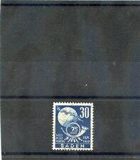 BADEN, ALLIED OCC Sc 5N46(MI 57)VF USED 1949 30pf DARK ULTRAMARINE UPU $21