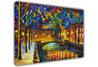 AT54378D Colourful Town By Leonid Afremov Canvas Wall Art Prints Framed Pictures