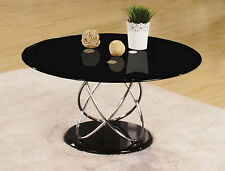 Coffee Table Black Glass Round Chrome Spiral Frame Living Room Table