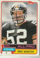 FREE SHIPPING-FAIR-1981 Topps #10 Mike Webster Steelers PLUS BONUS CARDS