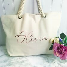 Personalised Ivory Canvas Beach Bag For Ladies Girls Honeymoon Gift Hen Present