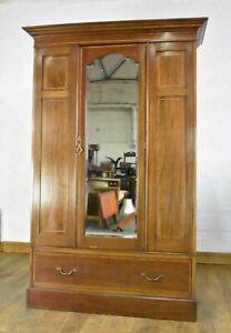 Antique Edwardian inlaid mirror door wardrobe