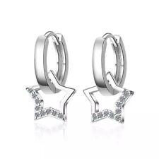 Damen Creole 925 Sterlingsilber Ohrringe Creolen Stern Rund Ohrhänger Silber