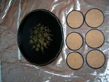 Black & Gold Toleware Metal Tray & 6 Magnetic Coasters Grapes & Vines 1950's