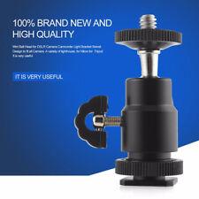 "1/4""Black Ball Head Bracket/Holder/Mount For Camera Tripod Hot Shoe Adapter New."