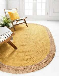indian braided bohemain yellow color & beige border oval jute rug braided rug