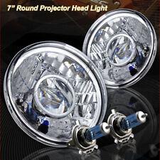"7"" Round H6024 H6017 Diamond Cut Glass Lens Chrome Housing Projector Headlights"