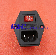 Black Red AC 250V 10A 3 Terminal Power Socket with Fuse Holder
