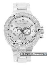watch silver bezel dial bracelet designer mens big heavy silver tone clubbing