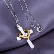 Collana -Cuore - collana croce con Oro cuore Argento 925 pl. catena Idea regalo