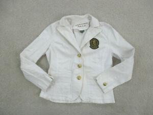Ralph Lauren Blazer Womens Medium White Gold Jacket Coat Casual Ladies *