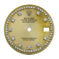 Champagne Custom string Diamond Dial Part Fits Rolex Datejust 36mm Watch Repair