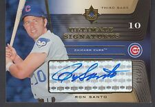 2004 Upper Deck Ultimate Collection Gold Ron Santo Signed Card Chicago Cubs HOF
