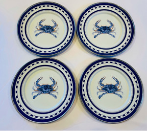 "GOLDEN RABBIT NEW Nautical Blue Crab 8.5"" Enamelware Sandwich Plates- Set of 4"