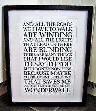 Oasis / Wonderwall A3 size typography lyric art print/poster