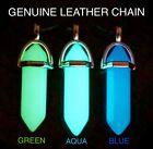 GLOW in the DARK Blue Opalite Crystal Quartz Pendant Genuine Leather Necklace