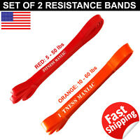 Set of 2 Resistance Band Loop Exercise Yoga Workout Power Gym Fitness 50 60 lb