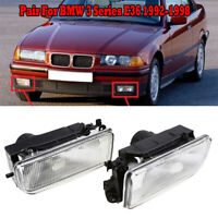 PAIR For BMW 1992-1998 E36 3 Series 318 325 Replacement Fog Lights Lamp Lens R&L