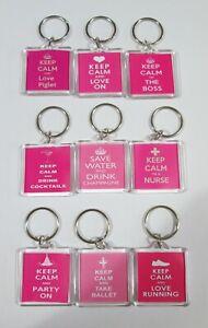 Dark Pink Keep calm Keyring - varaibles available