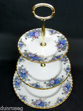 MOONLIGHT ROSE 3-Tier cake stand, 1st QLTY, in buonissima condizione, 1987-2002, l'Inghilterra ROYAL ALBERT