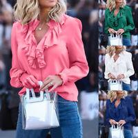 Women Casual Plus Size Ruffles V Neck Shirt Long Sleeve Solid Tops Blouse S-5XL