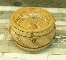 Vintage Wicker Rattan Woven Sewing Basket Crafts Red Lined Farmhouse Decor