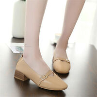 Womens Square Toe Block Mid Heels Pumps Chunky Flat Slip on Casual Buckle Shoes