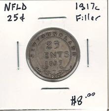 Canada Newfoundland NFLD 1917 Silver 25 Cents Filler