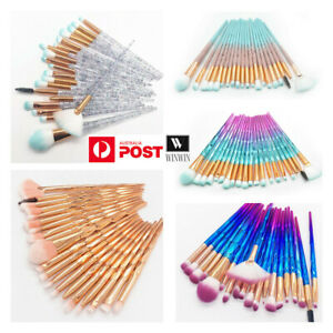 20PCS Eye Make-up Brushes Diamond Unicorn Eyeshadow Eyebrow Blending Brush Set
