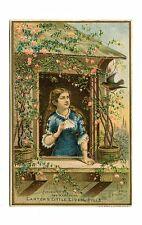 "Victorian Trade Card CARTERS LITTLE LIVER PILLS Woman at Window ""Sleep"""