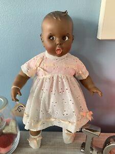 "Vintage Gerber Baby African American Black Doll Flirty Eyes Atlanta Novelty 18"""
