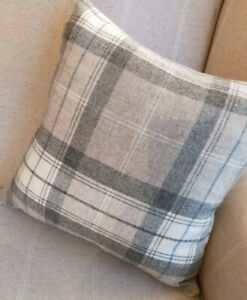 REVERSIBLE Natural/Taupe Wool Check Fabric Cushion Cover 16""
