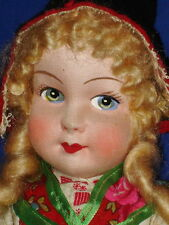 Mask Face ANNE MARIE SWEDEN Cloth Doll w Celluloid Hands & Medallion 1930s-on