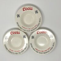 Coors Light Decorative Bowls Set of 3 Ash Trays Bar Plates Ceramic White/Red/Gra