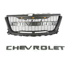 Front Grille Gray Mesh Bumper for Chevrolet Colorado 2016-2020 W/3 Led Lights