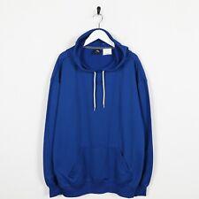 Vintage ADIDAS Central Logo Polyester Hoodie Sweatshirt Blue 2XL