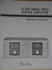 PHASE LINEAR PL D-500 / Dual 500 Series II AMPLIFIER OWNERS MANUAL 18 Pages