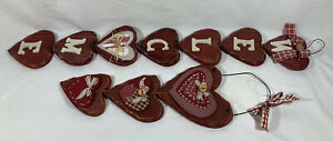 2 Country Style Wooden Hearts  Welcome & Hearts Sign