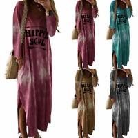 Women's Tie Dye Long Sleeve Maxi Dress Ladies Casual Loose V Neck Slit Dresses
