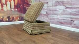 PARKER KNOLL STORAGE WHEELED FOOTSTOOL IN BASLOW STRIPE GOLD RRP £549