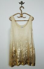 Halston Heritage Gold Silk Shift Dress Beaded Sequin Sleeveless Womens Size 12