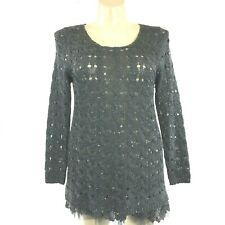 Pretty Angel Large Tunic Top Loose Knit Sweater Sequin Mesh Lace Hem Linen Bl LN