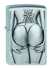 Zippo Unisex Adult Stocking Girl Emblem Windproof Pocket Lighter Chrome